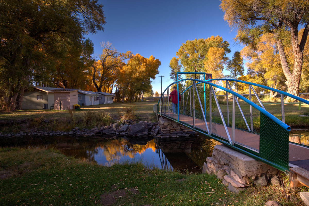 Bridge crossing a branch of the Conejos River at Twin Rivers Cabins and RV Park on the Conejos River in Antonito, Colorado