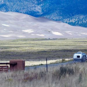 Picture of tourist towing an RV entering Great Sand Dunes National Park